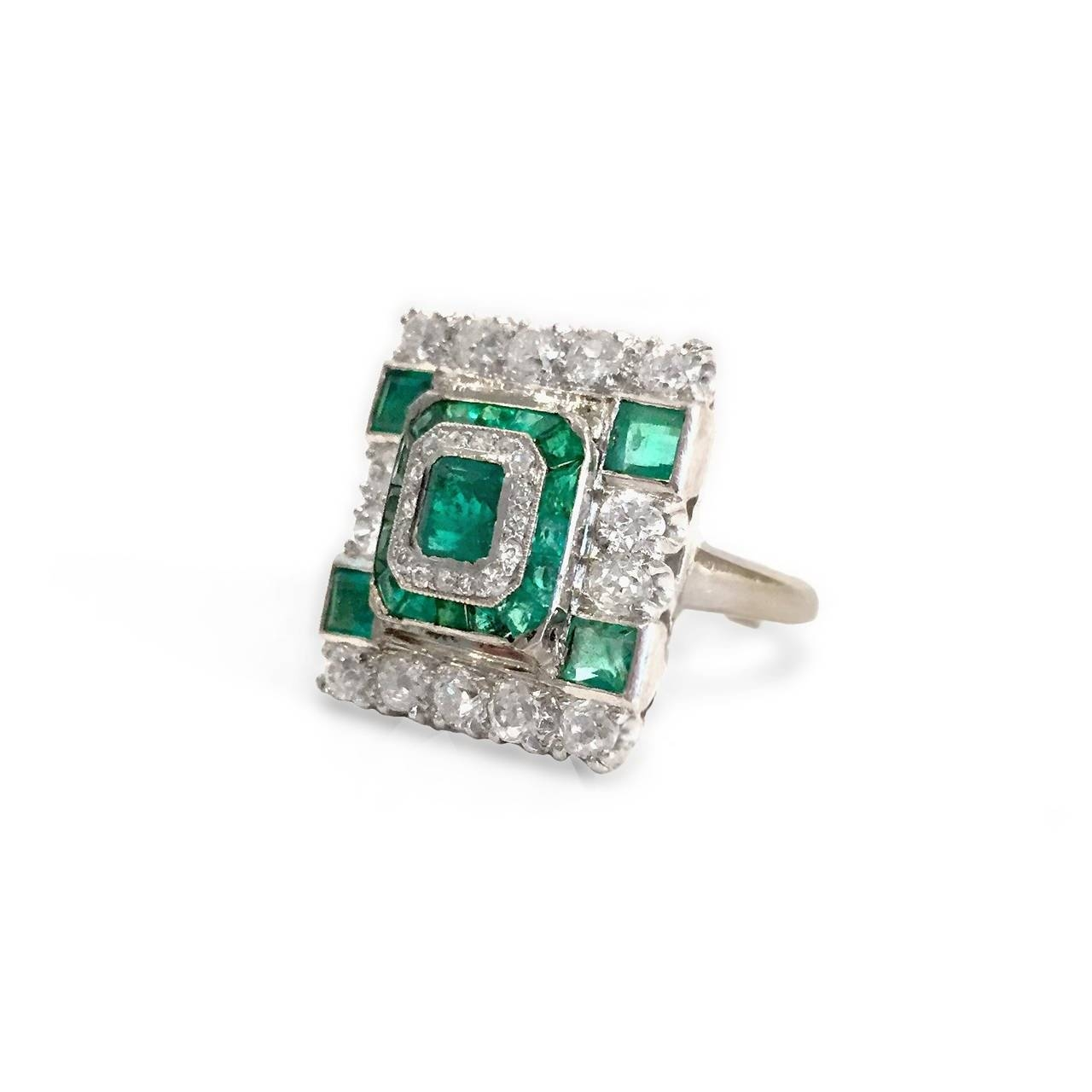 Art Deco Princess Cut Emerald Diamond Gold Ring At 1Stdibs For Princess Cut Emerald Engagement Rings (View 5 of 15)