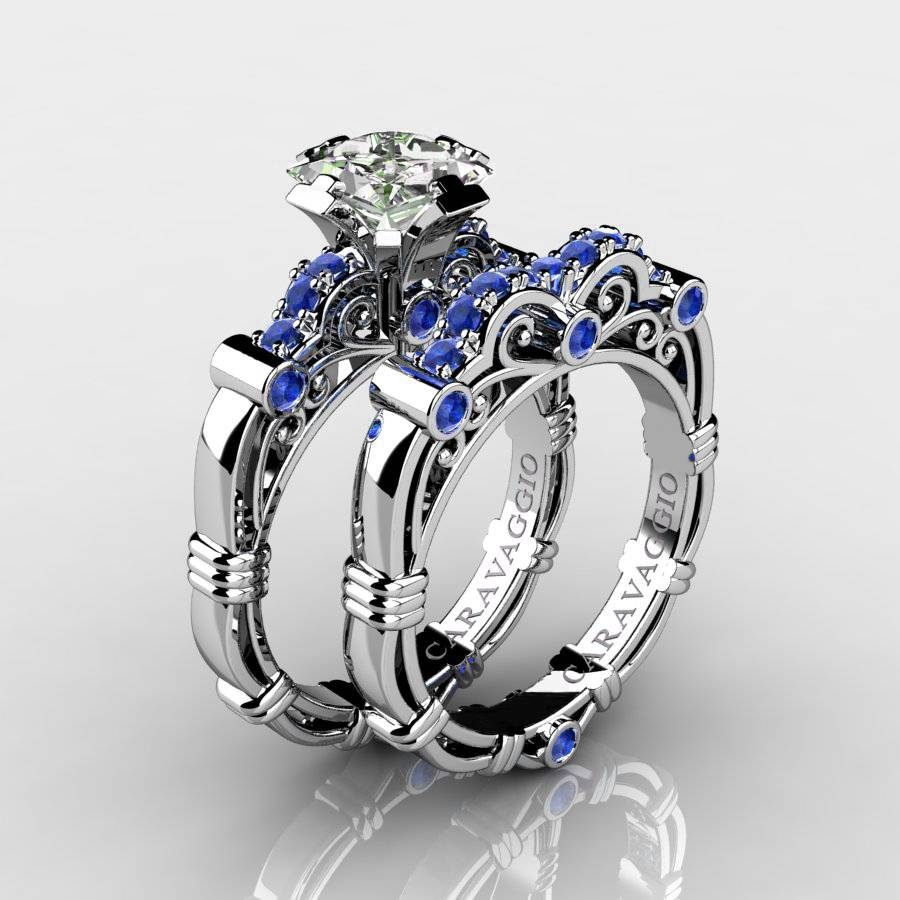 Art Masters Caravaggio 10K White Gold 1.25 Ct Princess White And With Blue Sapphire Wedding Rings (Gallery 4 of 15)