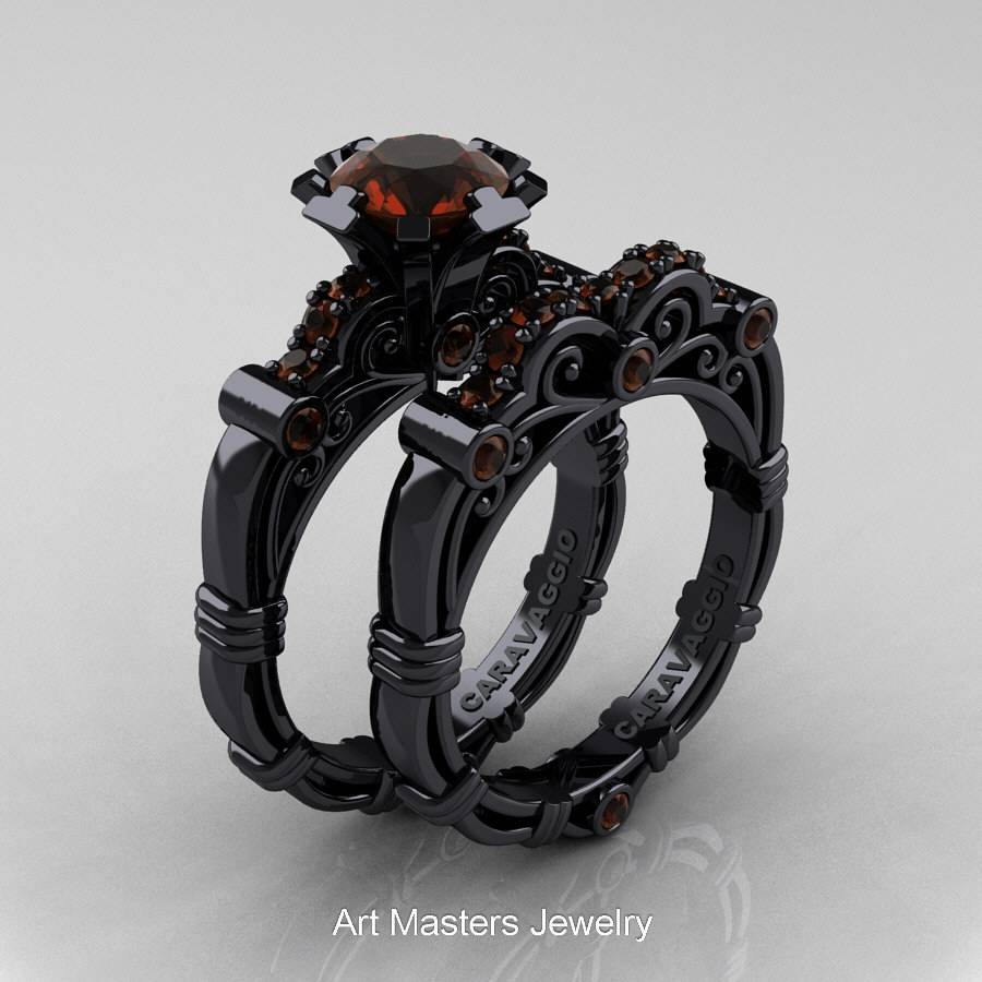Art Masters Caravaggio 14K Black Gold 1.0 Ct Brown Diamond Intended For Black Gold Diamond Wedding Rings (Gallery 4 of 15)