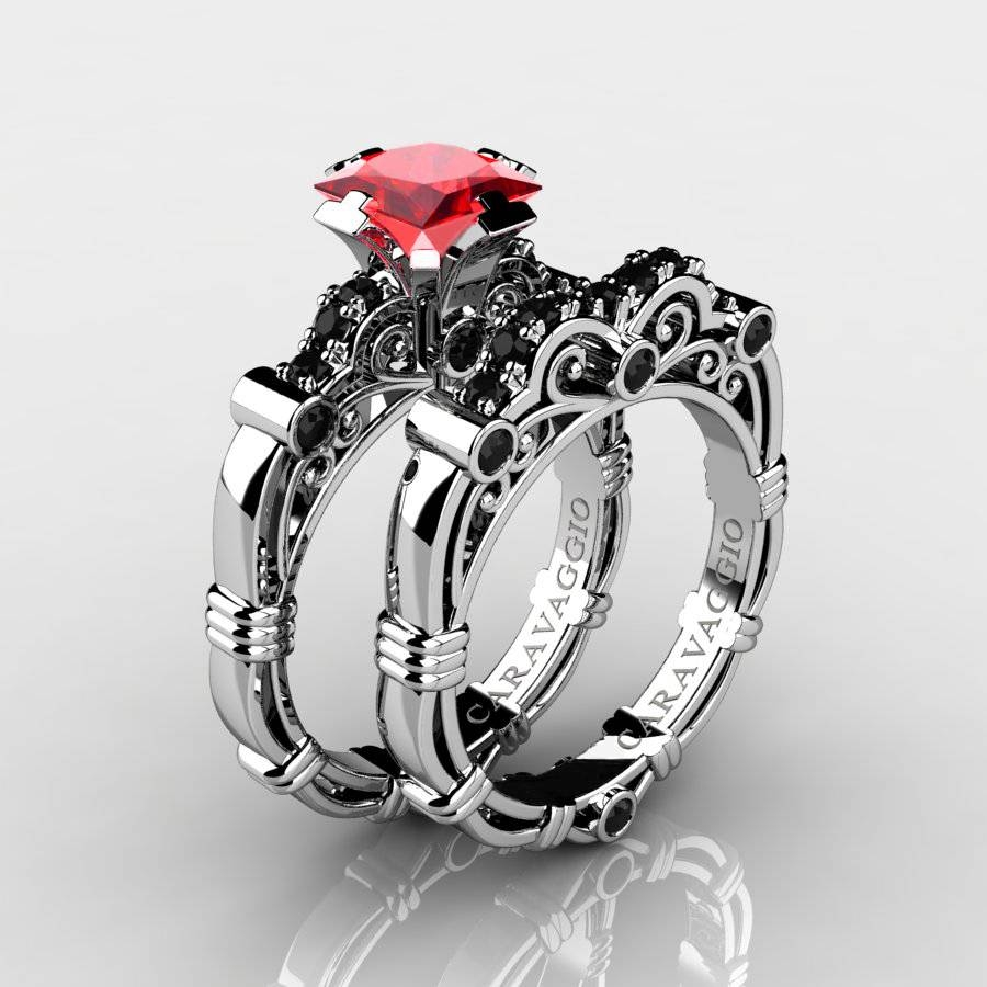 Art Masters Caravaggio 14K White Gold 1.25 Ct Princess Ruby Black Throughout Diamond And Ruby Engagement Rings (Gallery 8 of 15)