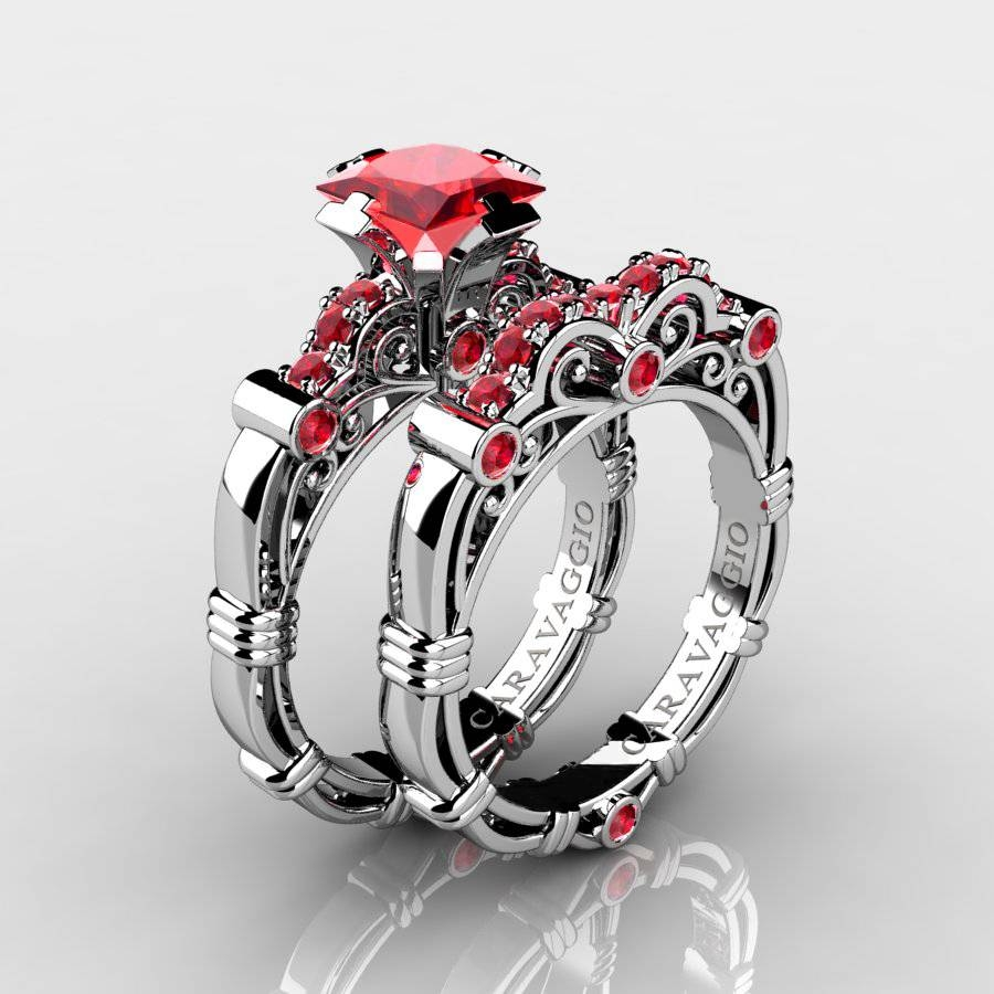 Art Masters Caravaggio 14K White Gold 1.25 Ct Princess Ruby Intended For White Gold Ruby Wedding Rings (Gallery 10 of 15)