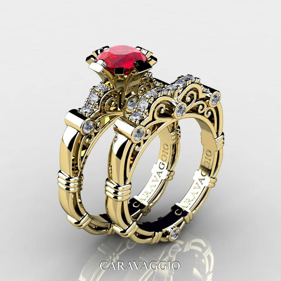 Art Masters Caravaggio 14K Yellow Gold 1.0 Ct Ruby Diamond With Regard To Gold Ruby Engagement Rings (Gallery 1 of 15)