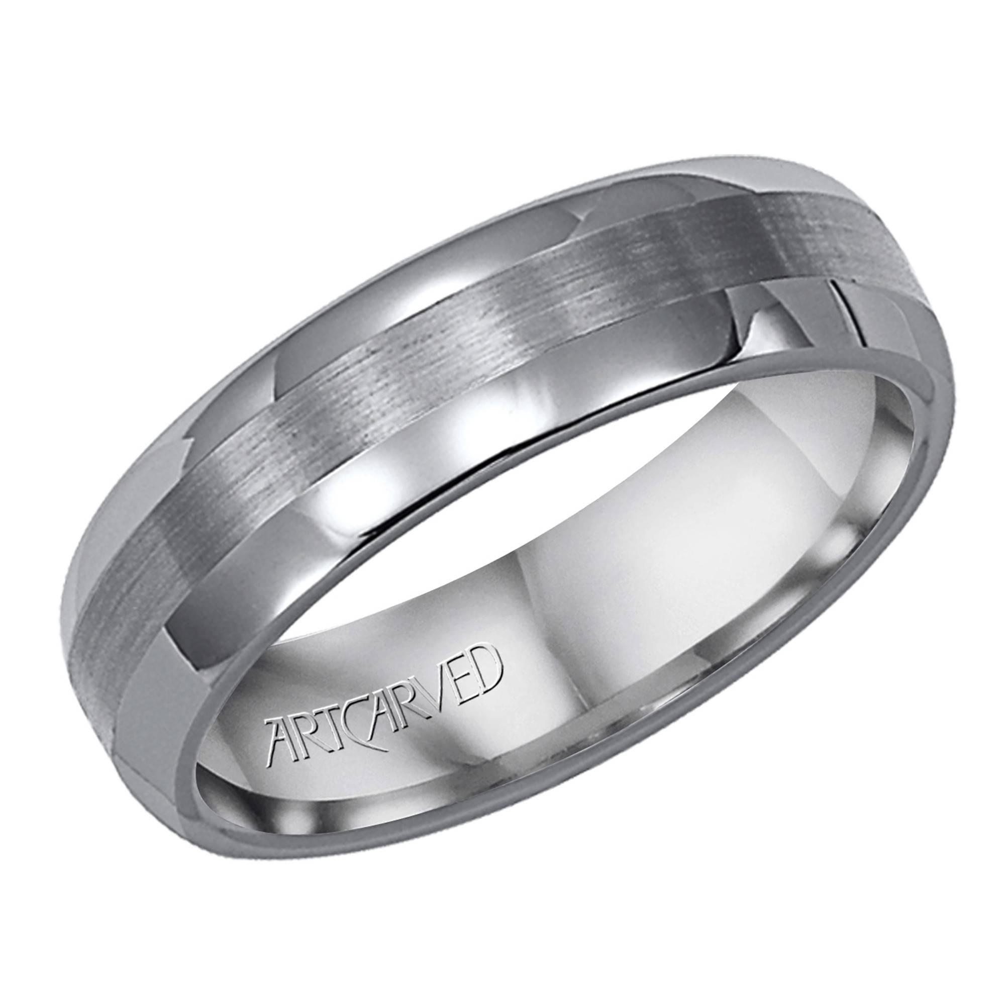 Artcarved Aurora Mens Satin Wedding Ring In Tungsten (6Mm) With Artcarved Men Wedding Bands (Gallery 14 of 15)