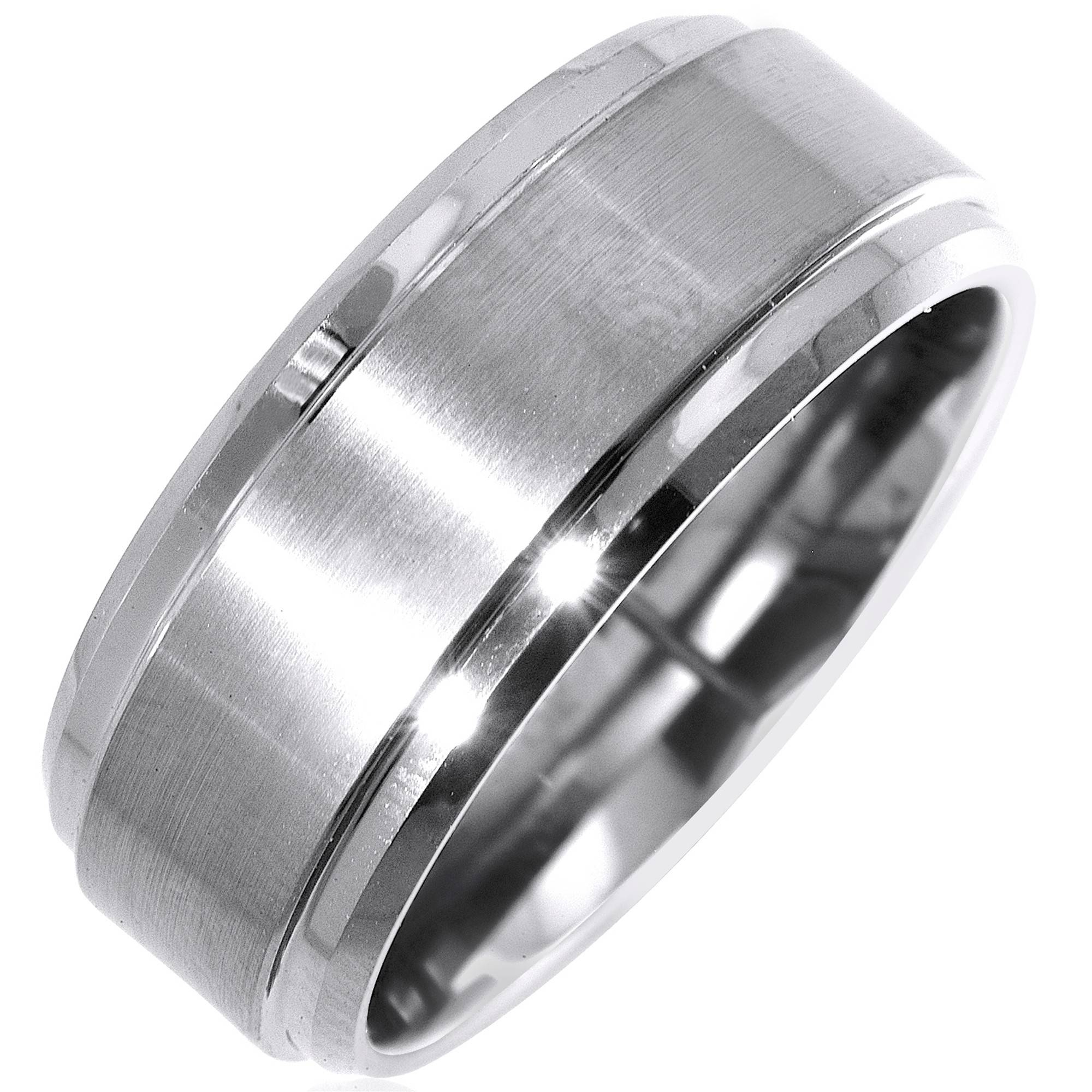 ring manooco wolfram rose silver gold stripes carbide tungsten rings rgdoublelinepokoncen from products brushed