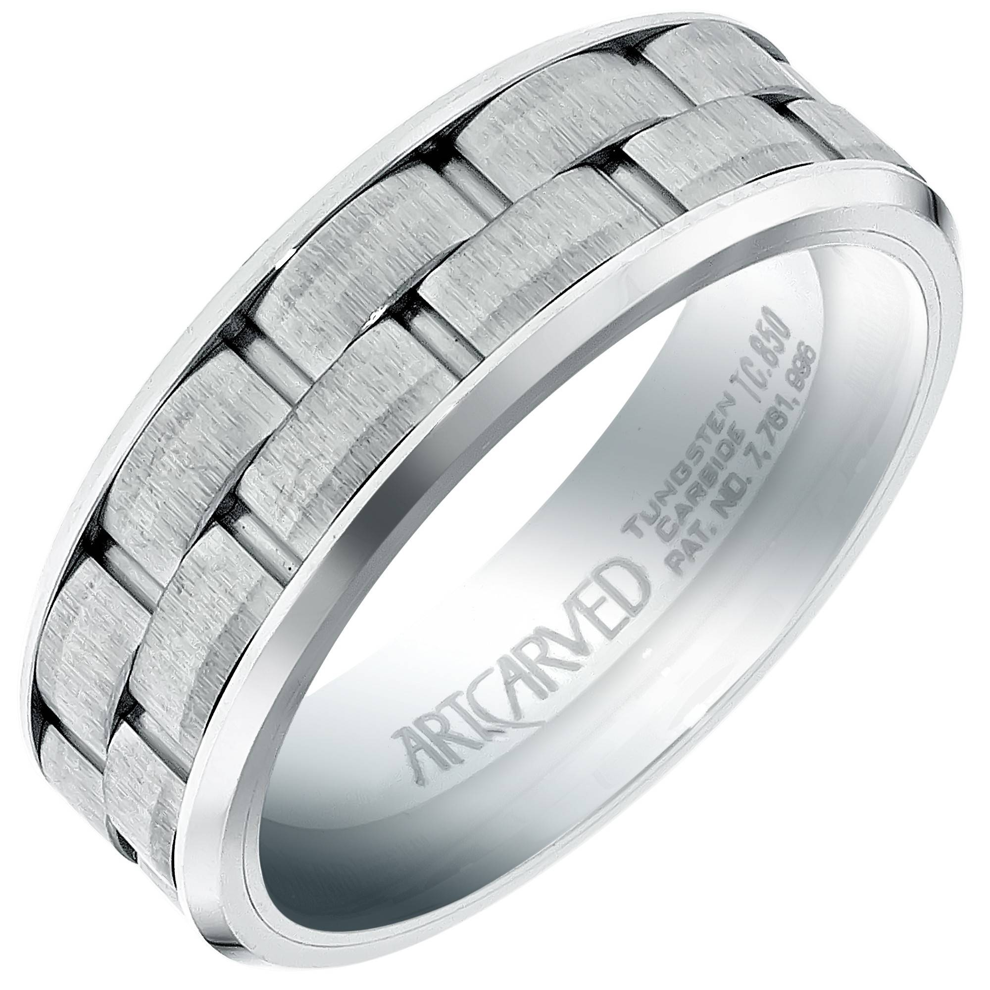 Artcarved Mens Brick Pattern Wedding Band In White Tungsten (7mm) With Regard To 7mm Tungsten Wedding Bands (Gallery 9 of 15)