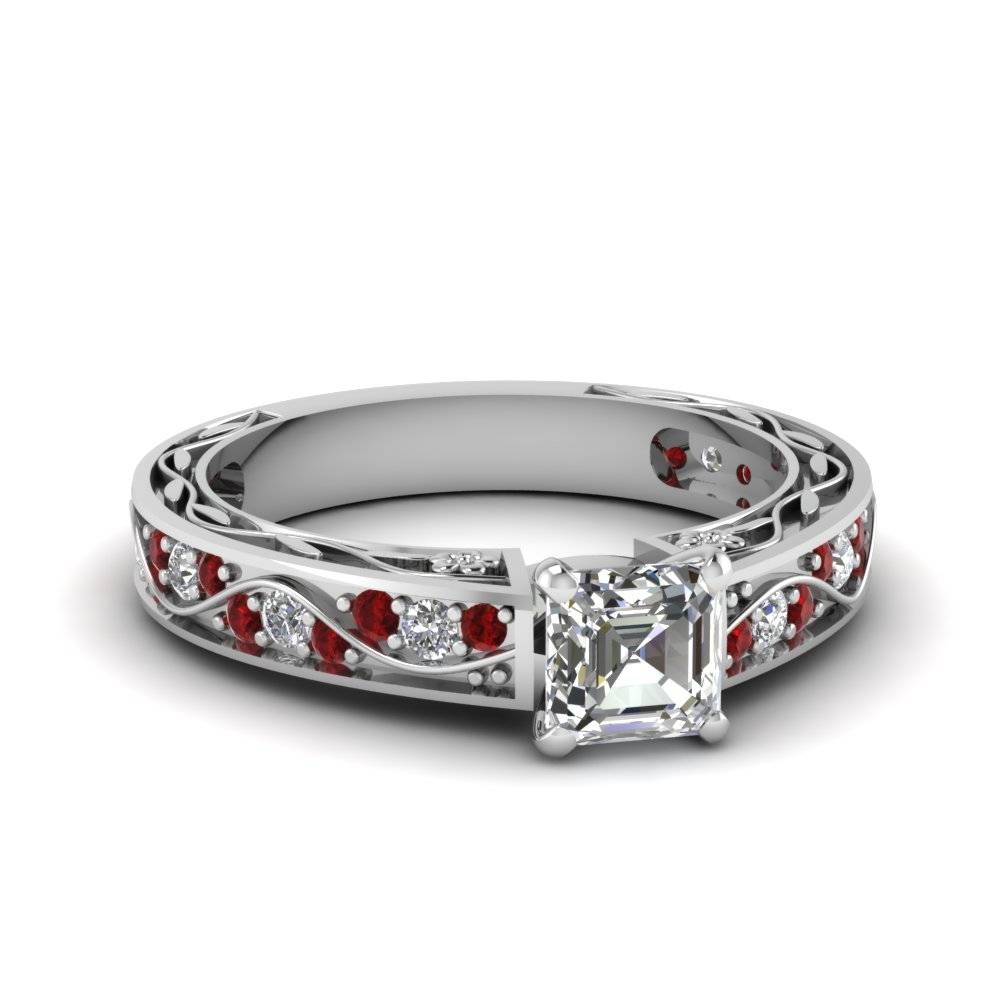 Asscher Cut Antique Filigree Diamond Ring With Ruby In 14K White With Regard To White Gold Wedding Rings With Diamonds (View 6 of 15)