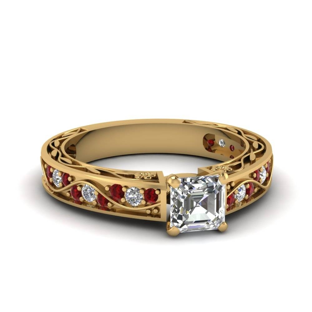Asscher Cut Antique Filigree Diamond Ring With Ruby In 14K Yellow Pertaining To Ruby Engagement Rings Yellow Gold (View 4 of 15)