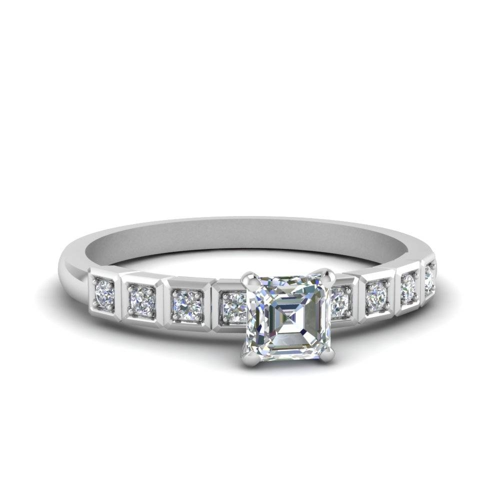 Asscher Cut Petite Block Design Diamond Engagement Ring In 14K Regarding Asscher Cut Wedding Rings (View 8 of 15)