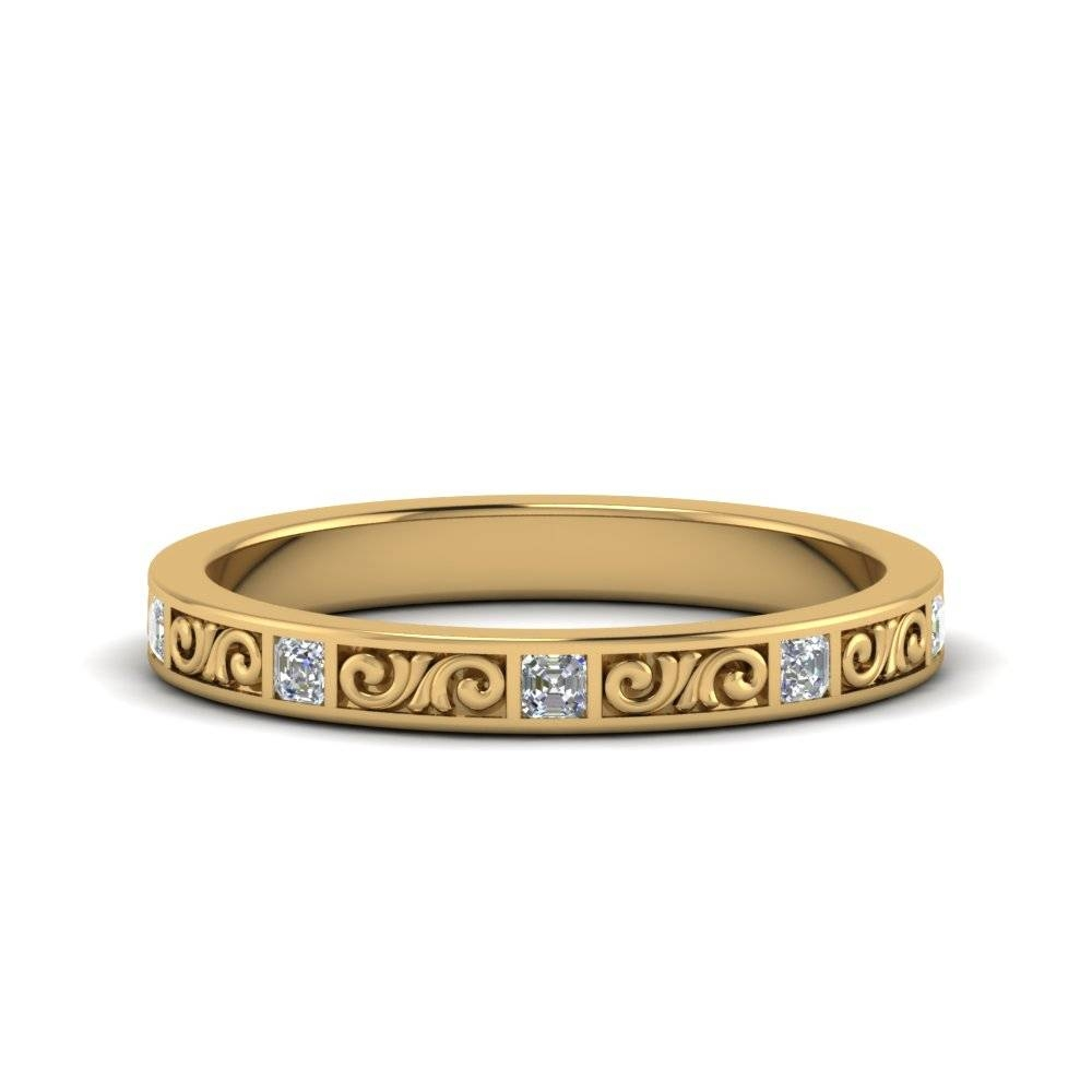Asscher Diamond Ring Filigree In 14K Yellow Gold | Fascinating Pertaining To Engrave Wedding Bands (View 3 of 15)
