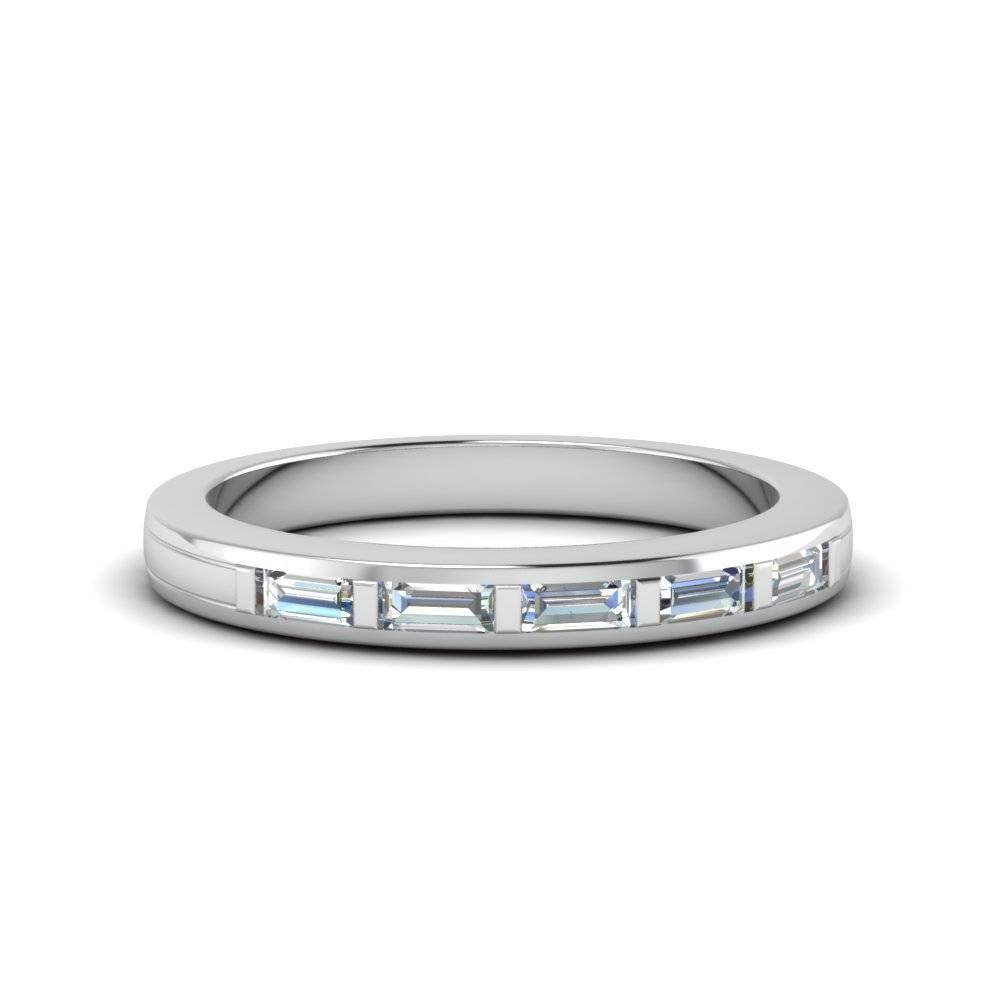 Baguette Diamond Wedding Band In 14k White Gold | Fascinating Diamonds Inside Wedding Bands With Baguettes (View 3 of 15)
