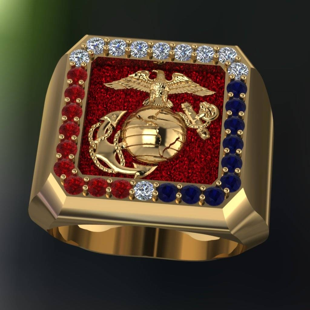 Beautiful Marine Corps Ring In 18K With Diamonds Intended For Marine Corps Wedding Bands (View 2 of 15)
