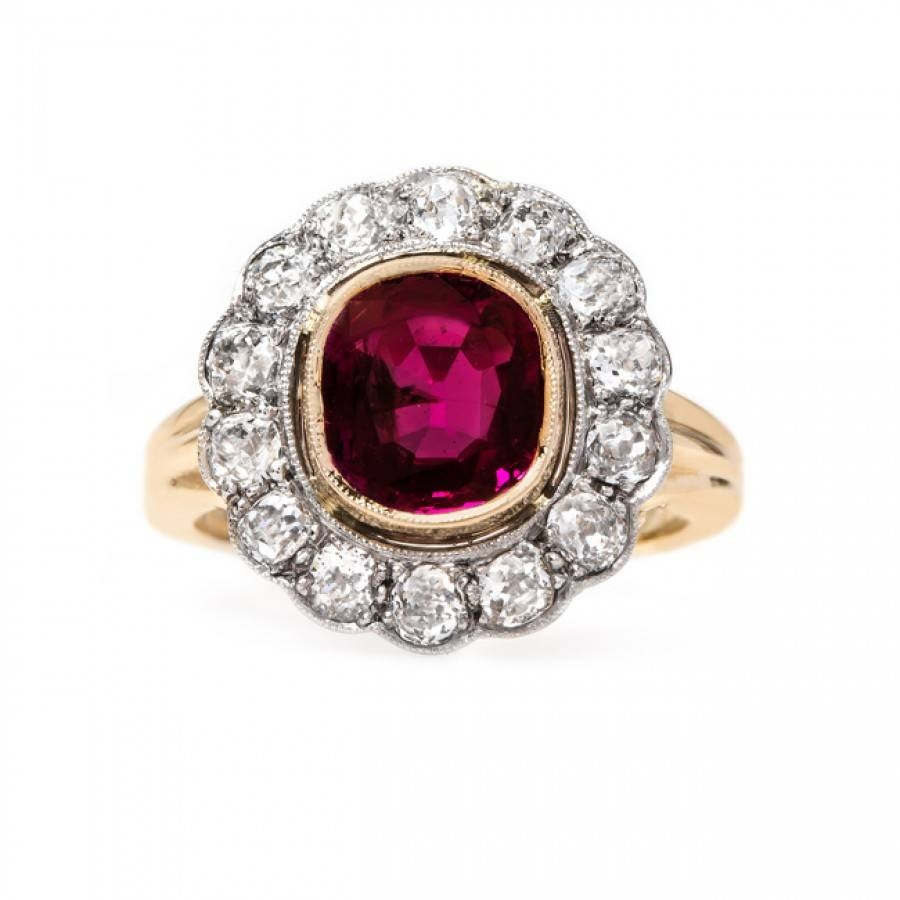 Beautifully Detailed Edwardian Ruby Ring | Cardinal Falls Regarding Engagement Rings Ruby And Diamond (View 5 of 15)