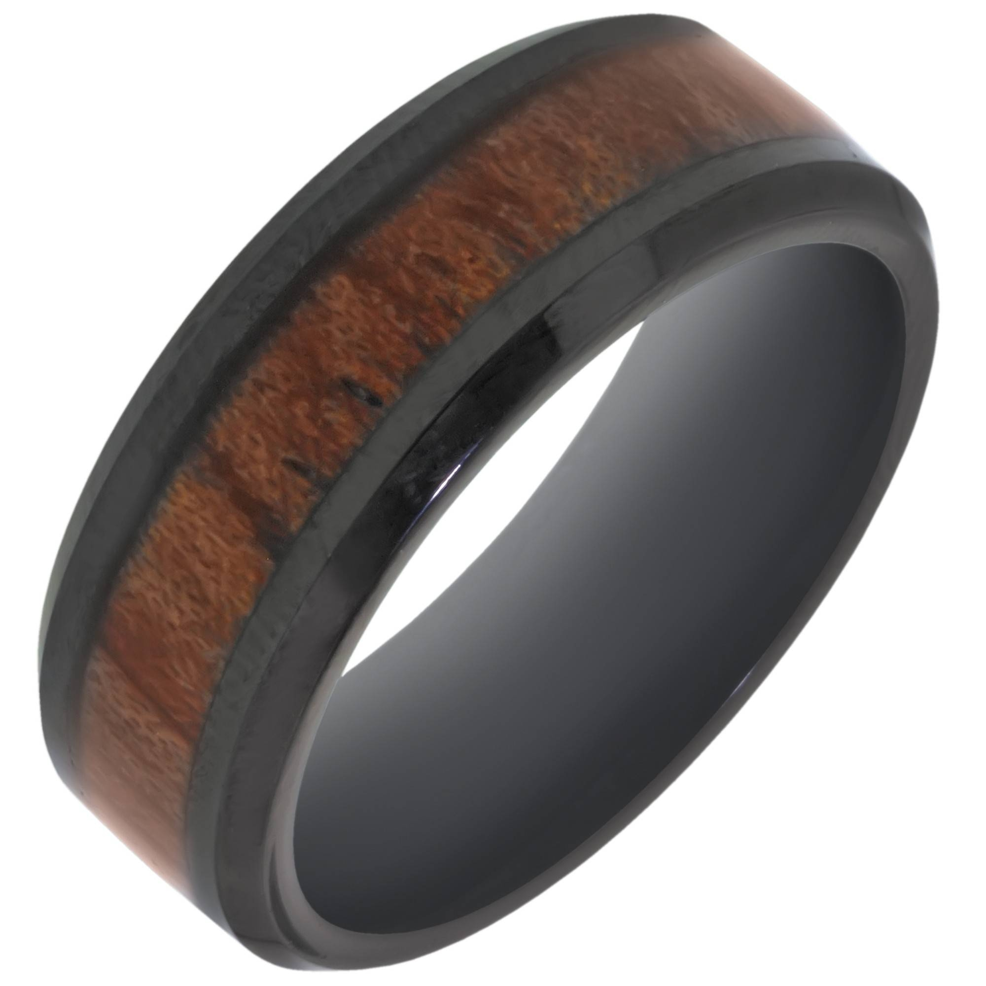 Benchmark Black Cobalt Chrome With Wood Inlay Wedding Band (8mm) Regarding Men's Wedding Bands Wood Inlay (View 2 of 15)