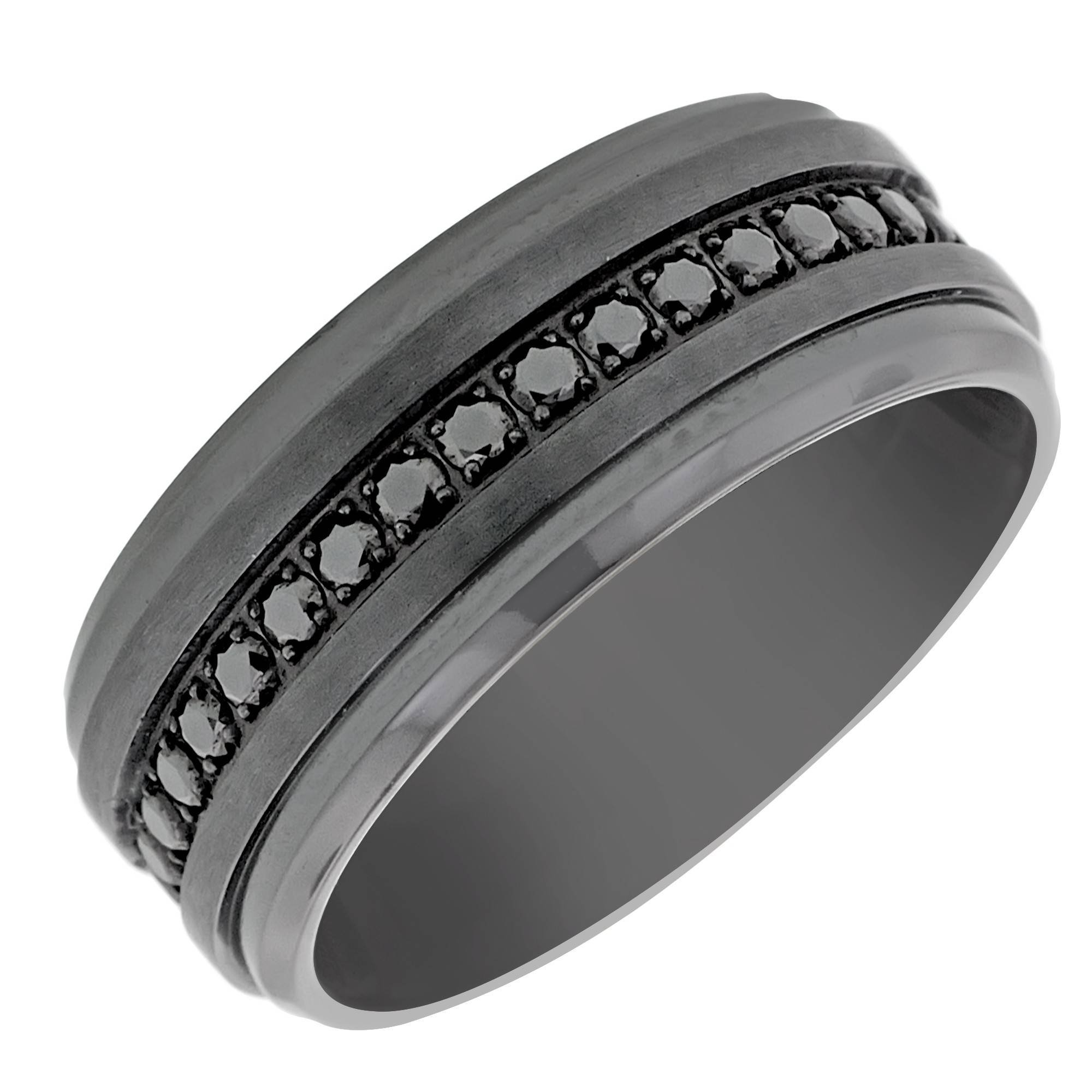 Benchmark Mens Black Cubic Zirconia Wedding Band In Black Titanium Inside Men's Titanium Wedding Bands With Diamonds (View 1 of 15)