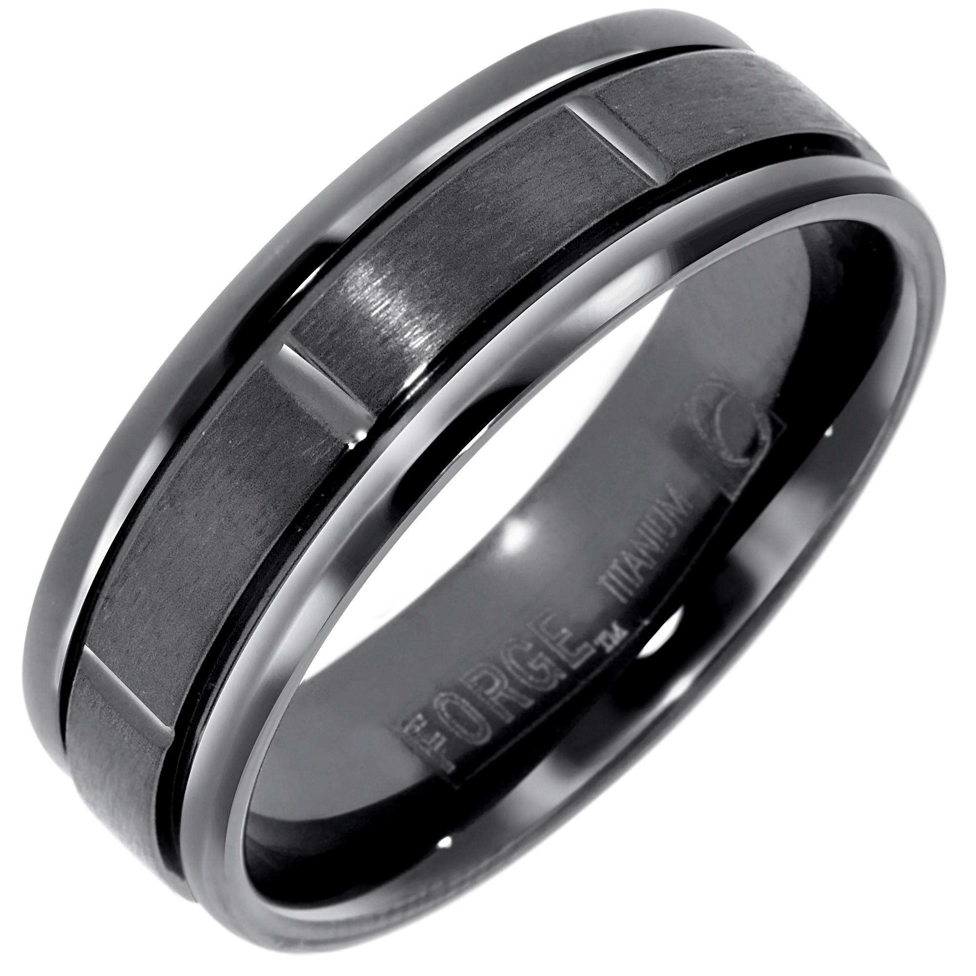 Benchmark Mens Wedding Band In Black Titanium (6Mm) Inside Titanium Wedding Bands (View 1 of 15)