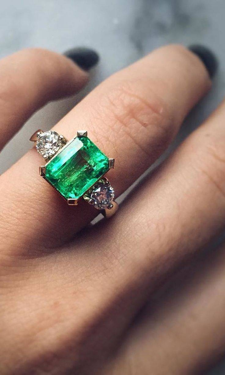 Best 25+ Emerald Engagement Rings Ideas On Pinterest | Green Pertaining To Artsy Wedding Rings (View 9 of 15)