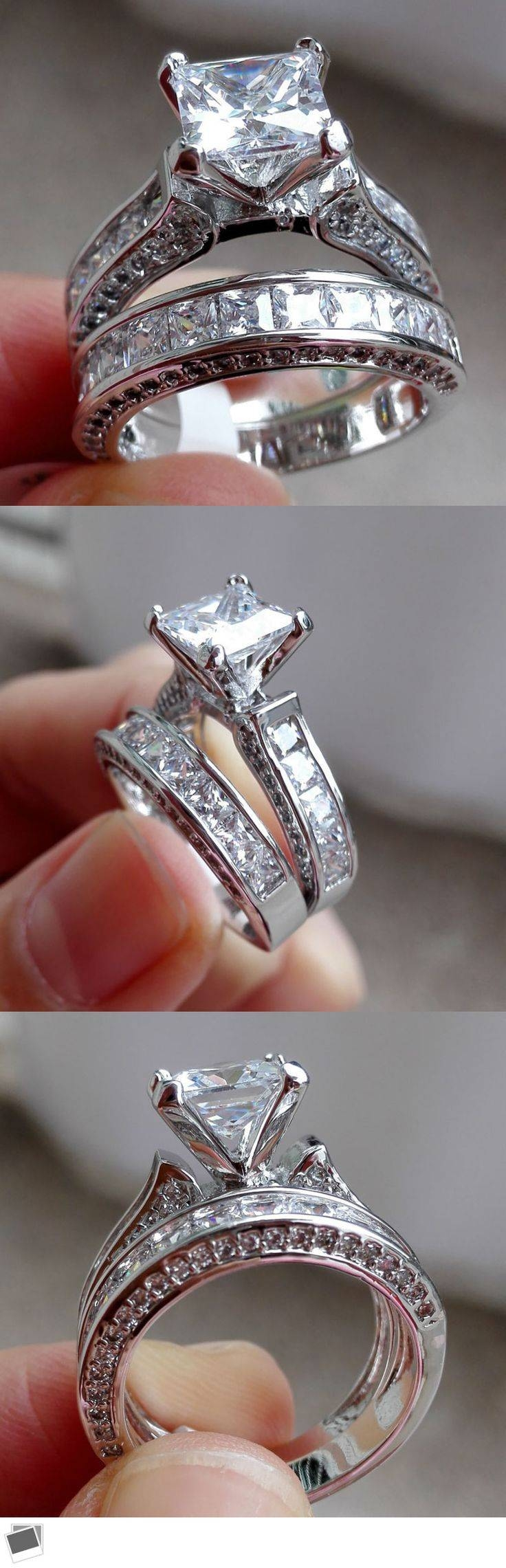Best 25+ Princess Cut Wedding Rings Ideas On Pinterest | Princess With Regard To 2 Band Wedding Rings (View 6 of 15)