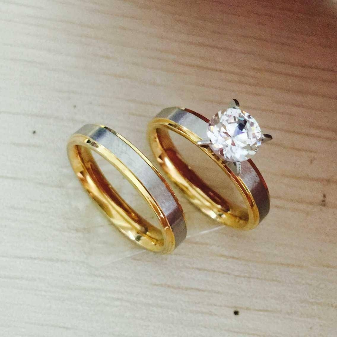 Best 4Mm Titanium Steel Cz Diamond Korean Couple Rings Set For Men Within Engagement Rings For Couples In Gold (View 2 of 15)