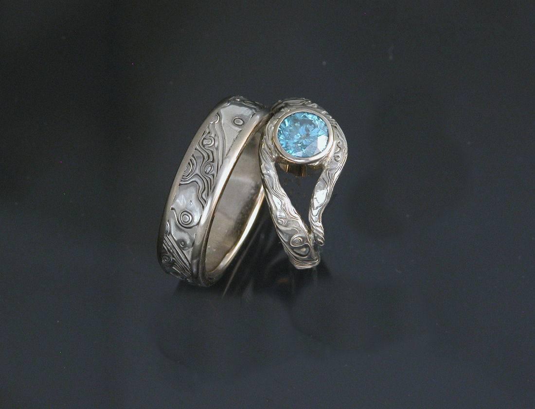Best Mokume Gane Engagement And Wedding Rings – Engagement Rings Depot Within Mokume Gane Wedding Rings (View 4 of 15)