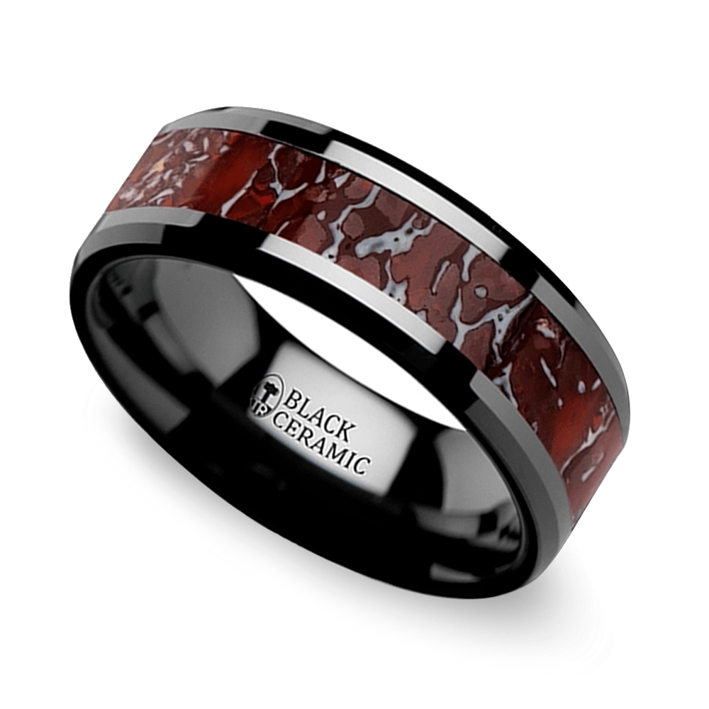 Beveled Dinosaur Bone Inlay Men's Wedding Ring In Black Ceramic Inside Black And Red Men's Wedding Bands (View 11 of 15)