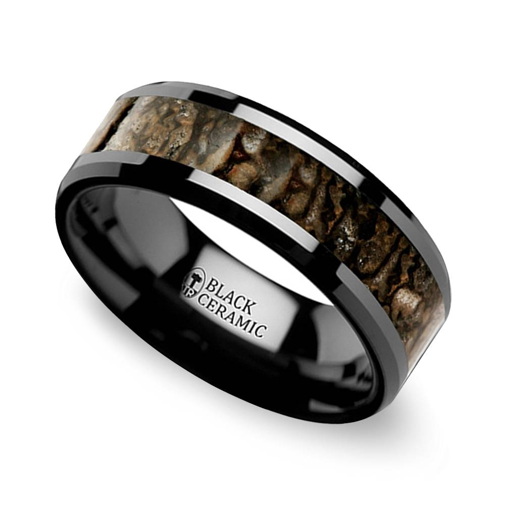 Beveled Dinosaur Bone Inlay Men's Wedding Ring In Black Ceramic Regarding Dinosaur Bone Engagement Rings (View 2 of 15)