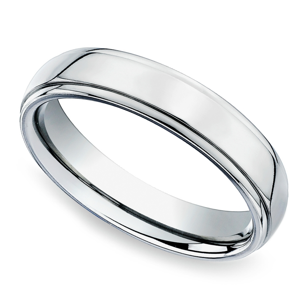 Beveled Men's Wedding Ring In Titanium (5Mm) Intended For Men's Wedding Bands (View 4 of 15)