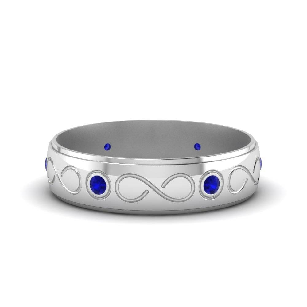Bezel Set Diamond Mens Wedding Band With Blue Sapphire In 14k Inside Men's Wedding Bands With Blue Sapphire (View 13 of 15)