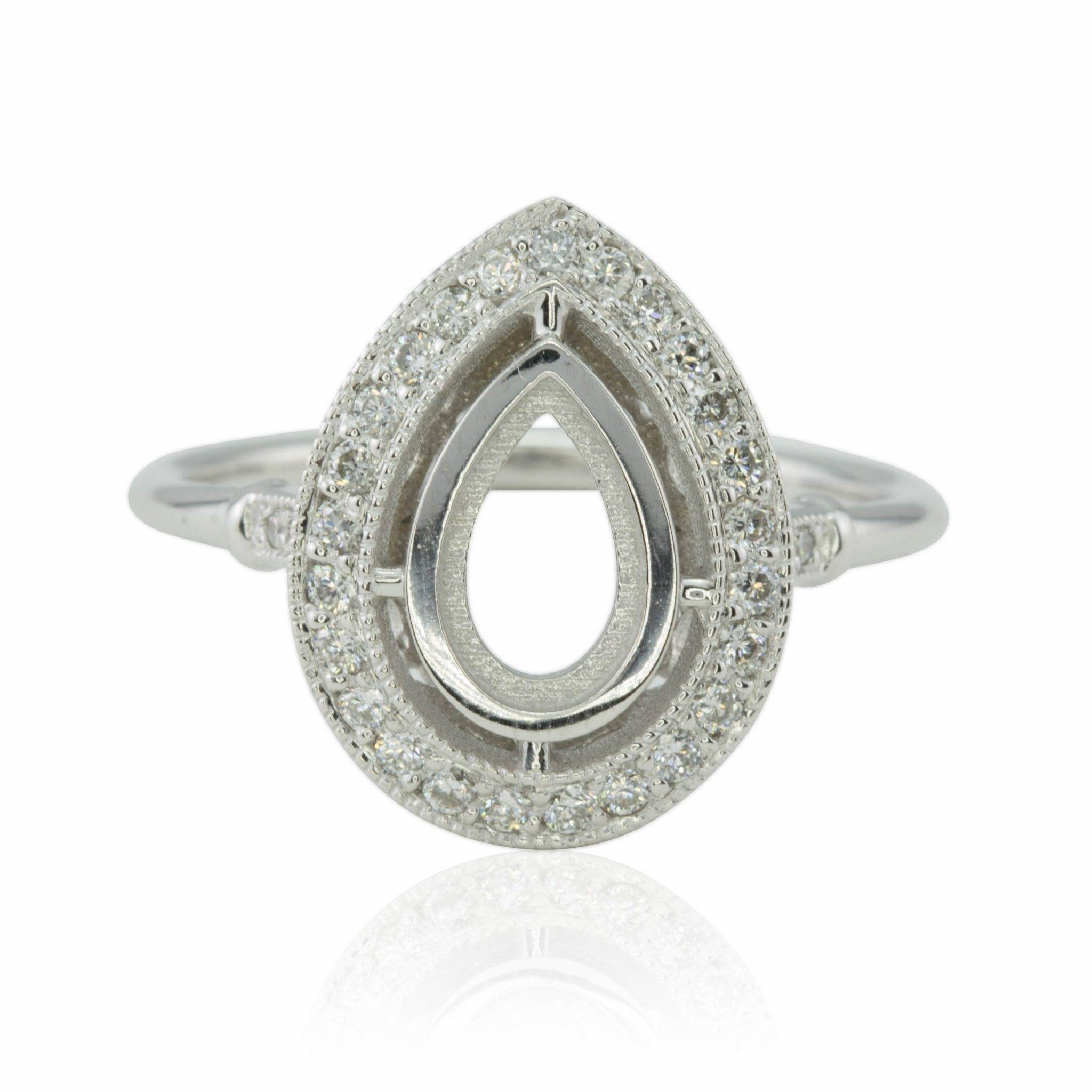 Bezel Set Pear Diamond Halo Semi Mount Engagement Ring With Throughout Pear Bezel Engagement Rings (View 5 of 15)