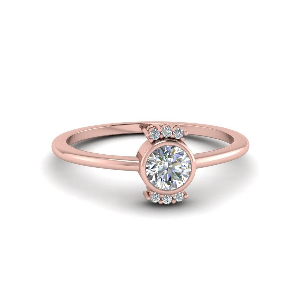 Bezel Set Round Cut Diamond Promise Ring In 14k White Gold With Bezel Wedding Rings (View 11 of 15)