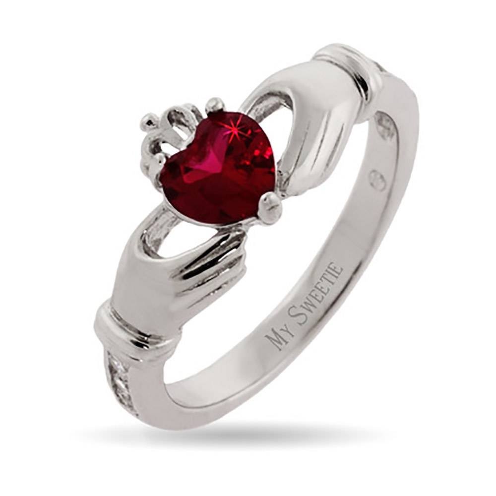 Birthstone Claddagh Ring In Sterling Silver | Eve's Addiction® Throughout Custom Claddagh Engagement Rings (View 1 of 15)