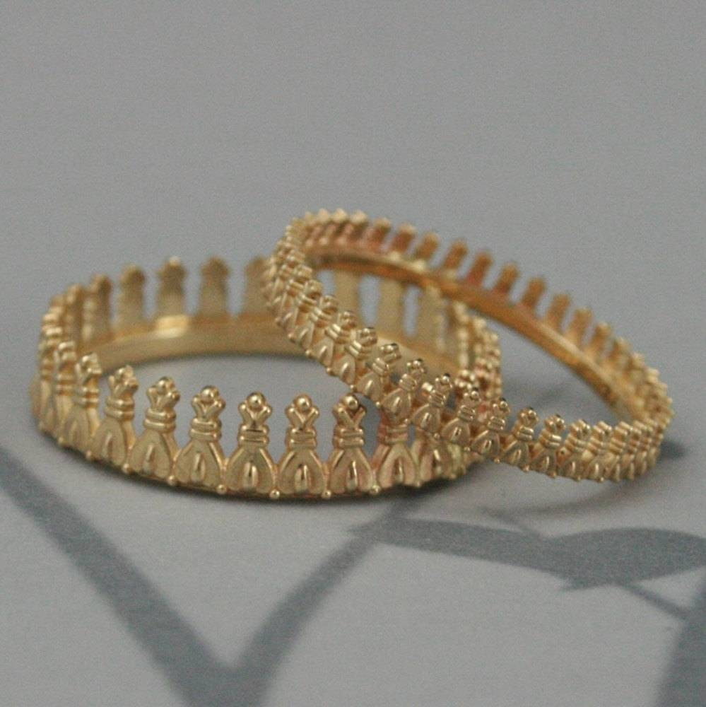 Bishops Crown Wedding Band Set In Solid Goldgold Crown With Regard To King And Queen Engagement Rings (View 3 of 15)