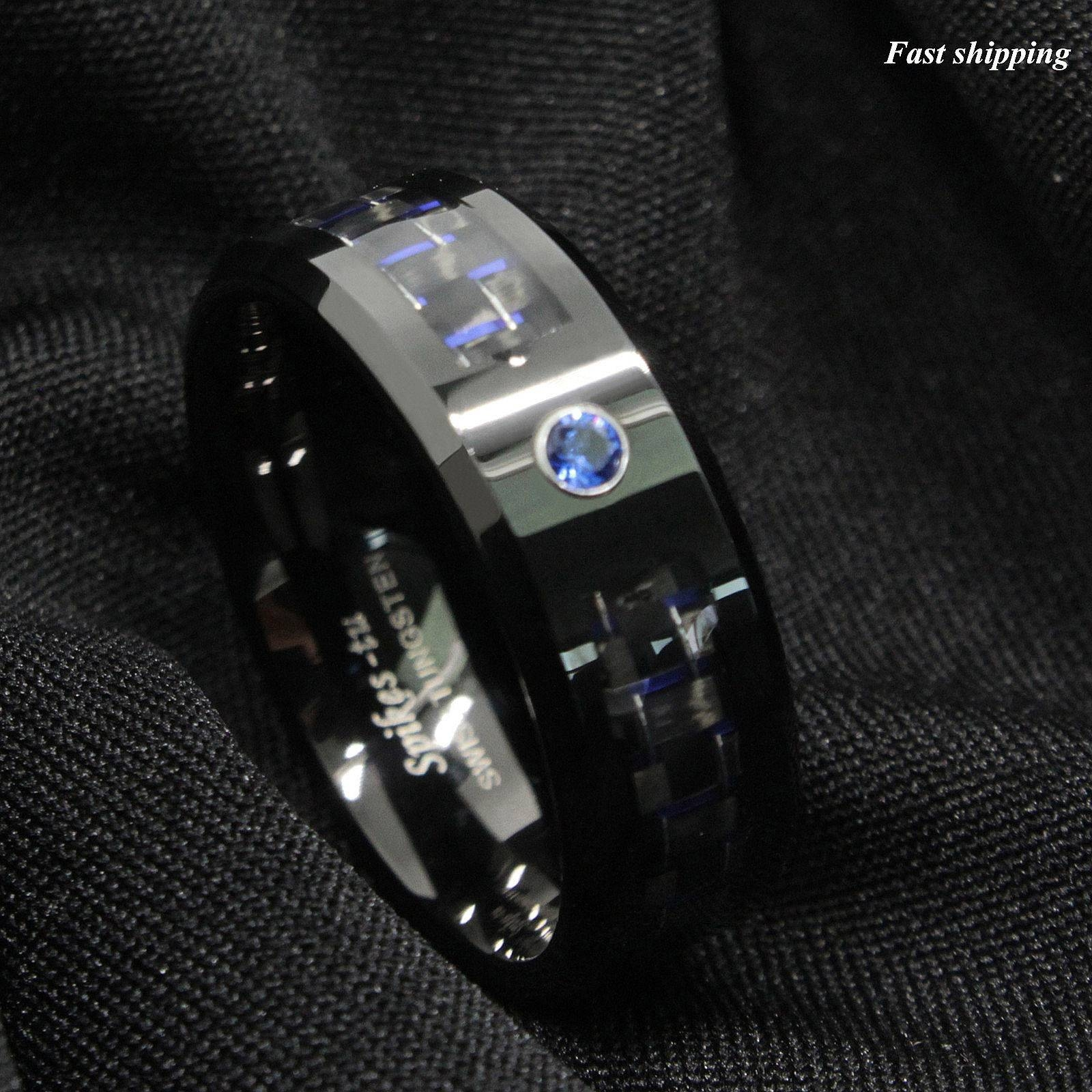 Black And Blue Carbon Fiber Tungsten Ring Blue Diamond Mens Throughout Mens Carbon Fiber Wedding Rings (View 3 of 15)