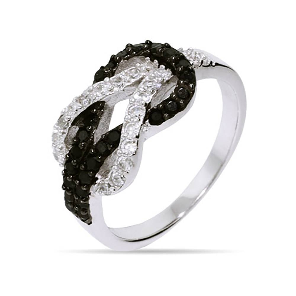 Black And White Diamond Infinity Ring | Eve's Addiction With Regard To Infinity Knot Engagement Rings (View 3 of 15)