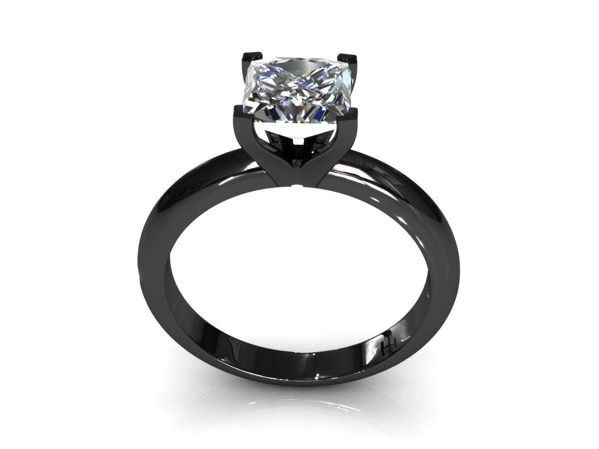 Black And White Princess Cut Diamond Engagement Rings – Laura Williams Pertaining To Black Diamond Wedding Rings For Her (View 4 of 15)