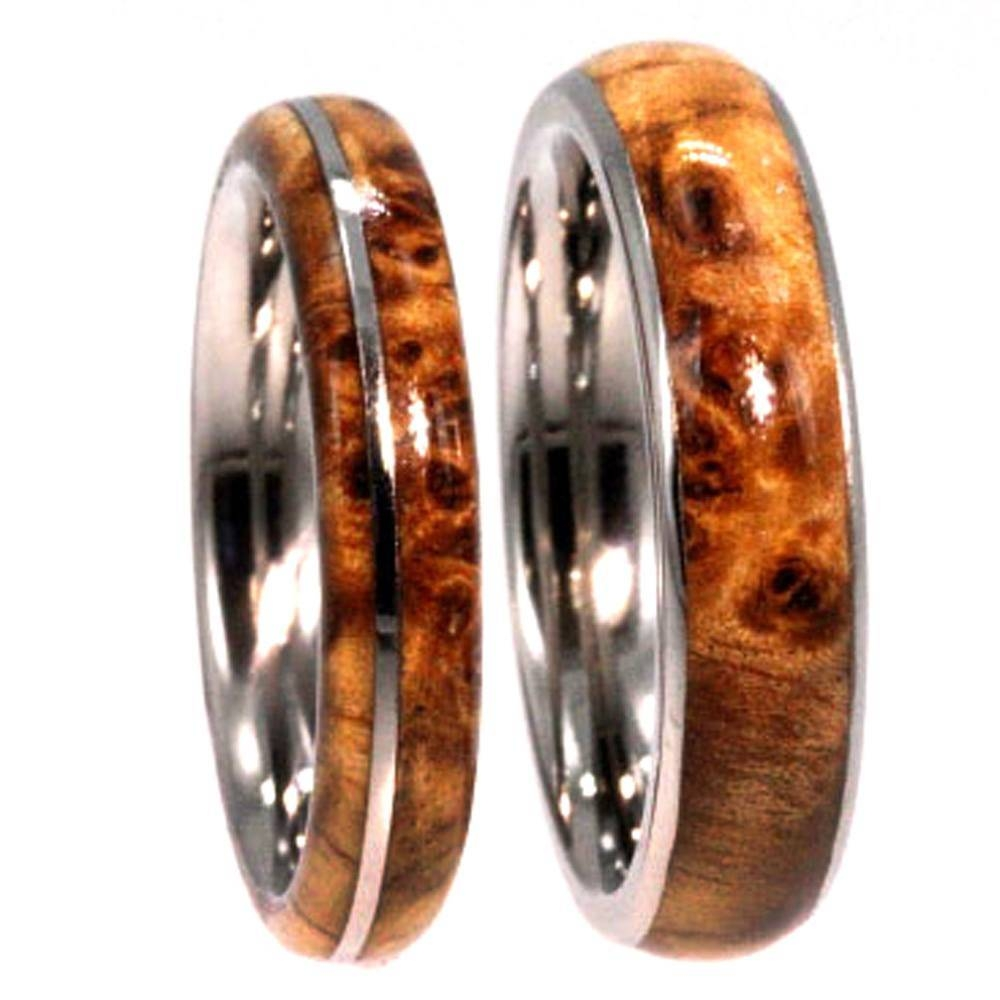 Black Ash Burl Wood Wedding Rings On Titanium Bands With Regard To Wood And Metal Wedding Bands (View 3 of 15)