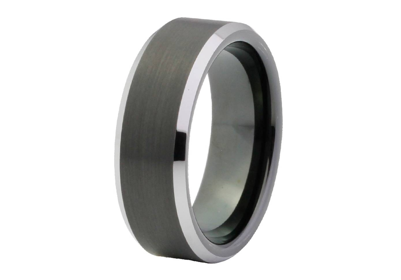 Black Brushed Tungsten Ring With Silver Bevel Edge With Tungsten Wedding Bands With Wood Inlay (View 3 of 15)