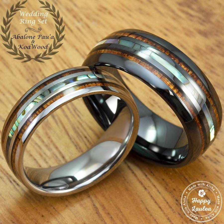 Black Ceramic And Tungsten Wedding Ring Set With Abalone Pau'a Inside Tungsten Wedding Bands With Wood Inlay (View 4 of 15)