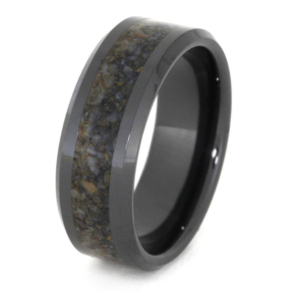 Black Ceramic Wedding Band, Crushed Dinosaur Bone Ring 3331 For Ceramic Wedding Bands (View 4 of 15)