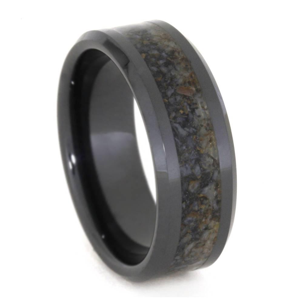 Black Ceramic Wedding Band, Crushed Dinosaur Bone Ring 3331 Intended For Ceramic Wedding Bands (View 1 of 15)
