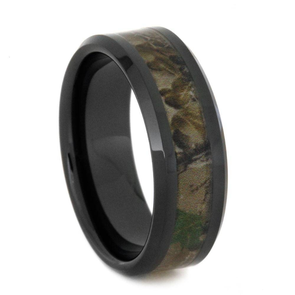 Black Ceramic Wedding Band With Camo Ring Inlay Intended For Ceramic Wedding Bands (View 4 of 15)