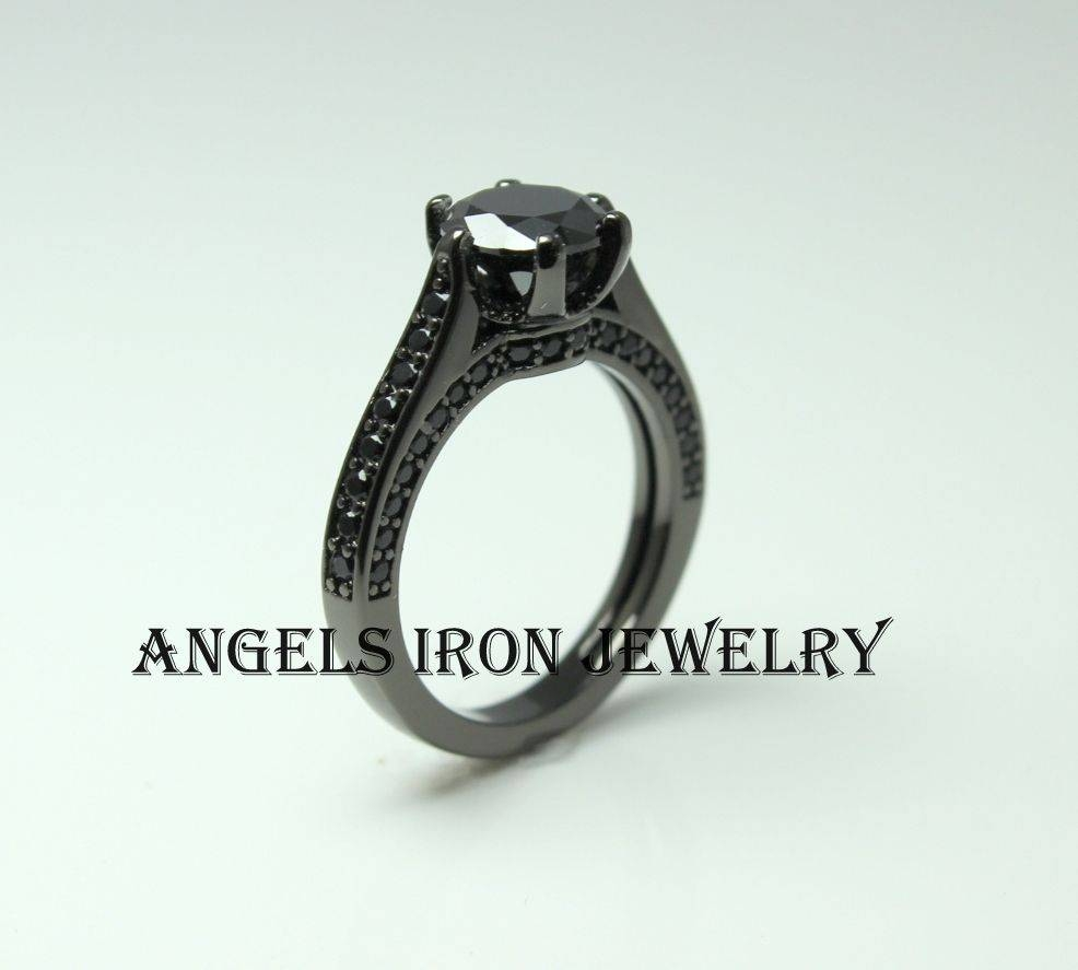 Black Diamond Engagement Ring Gold Filled Solitaire Cz Women Throughout Gothic Engagement Rings For Women (View 2 of 15)
