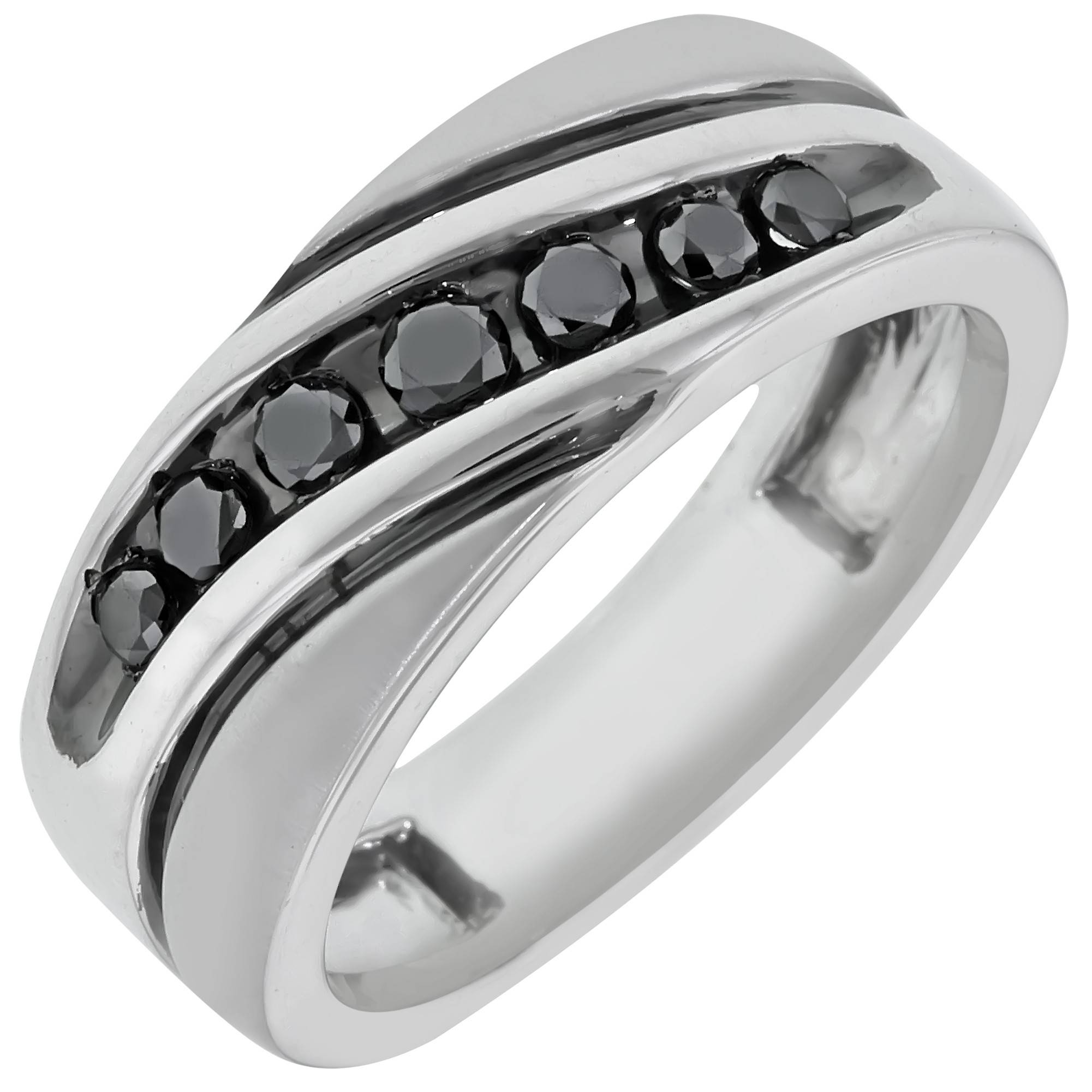 Black Diamond Mens Ring In Sterling Silver (1/2Ct Tw) In Silver Mens Engagement Rings (View 2 of 15)