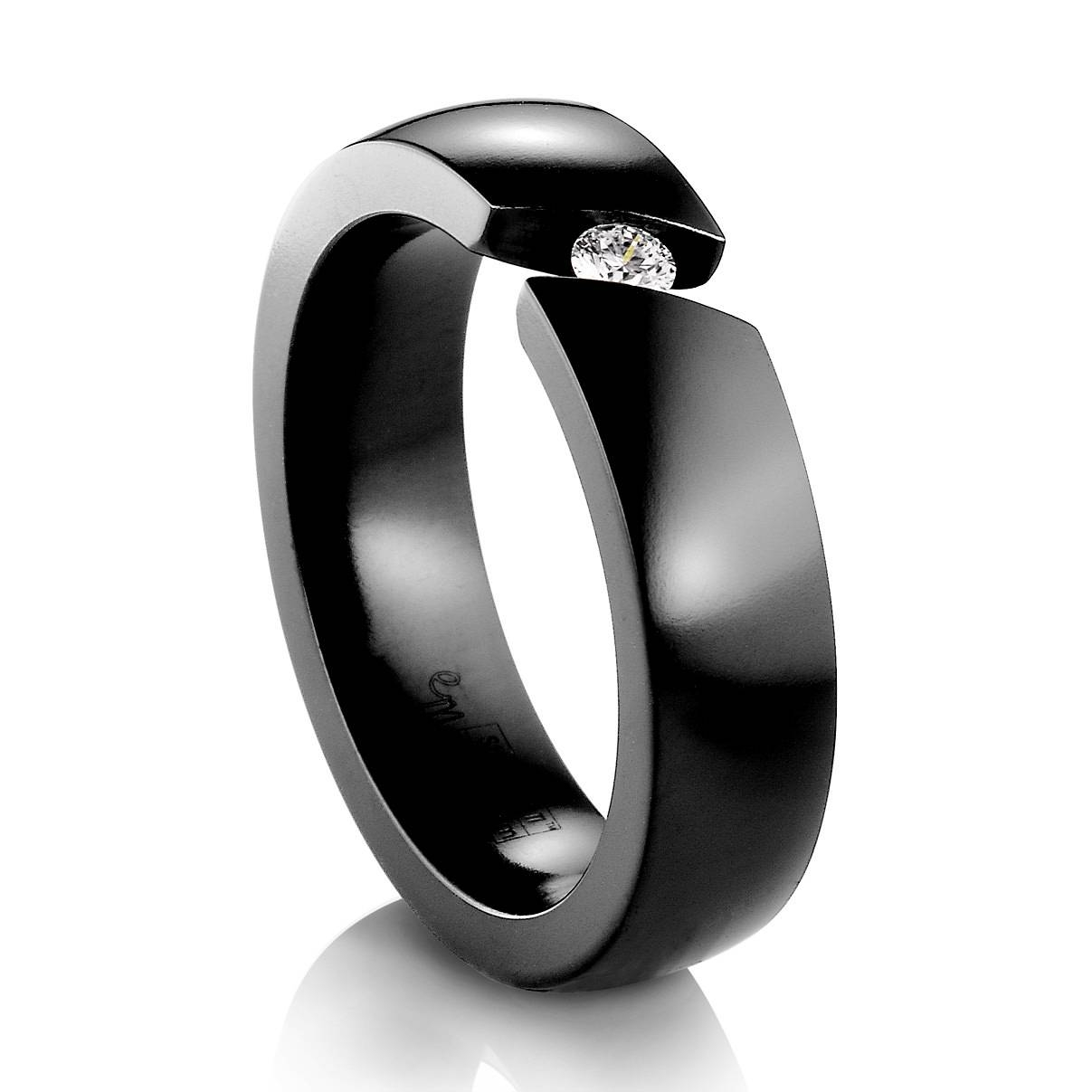 Black Diamond Ring With Gold Band The Elegant Black Diamond Within Black And Red Wedding Bands (View 6 of 15)