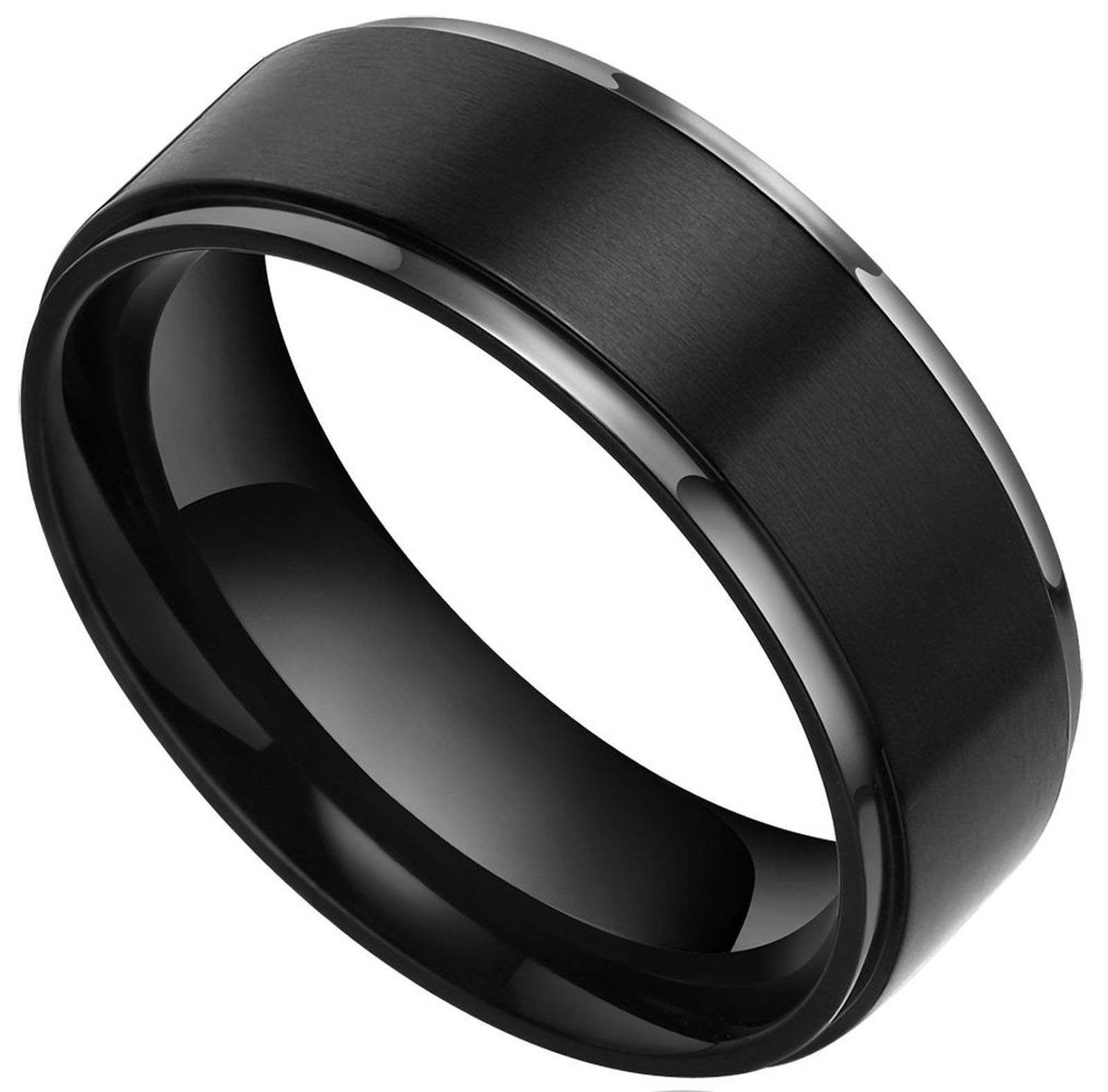 Black Male Wedding Rings | Wedding, Promise, Diamond, Engagement Inside Matte Black Mens Wedding Bands (View 9 of 15)