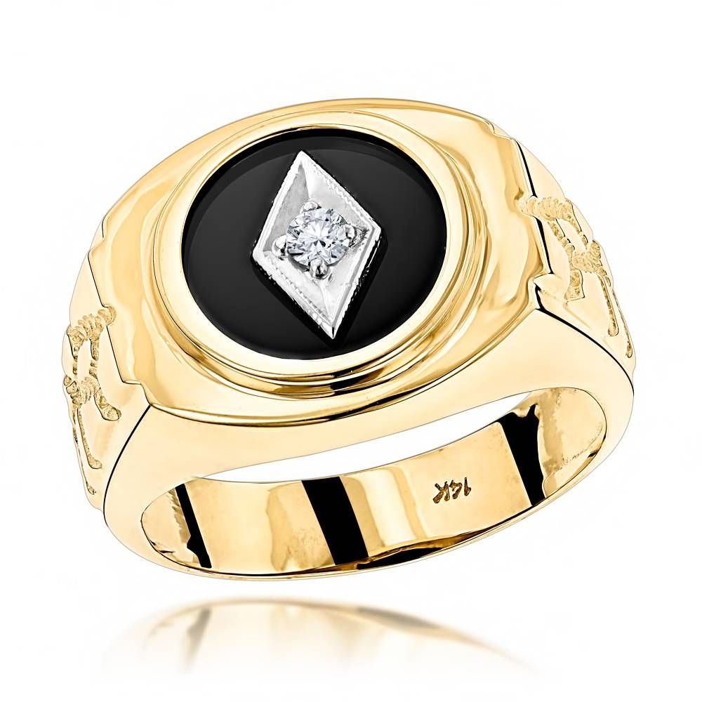 Black Onyx And Diamond Rings 14K Gold Mens Ring 0.10Ct (Item Code Within Gold Mens Engagement Rings (Gallery 6 of 15)