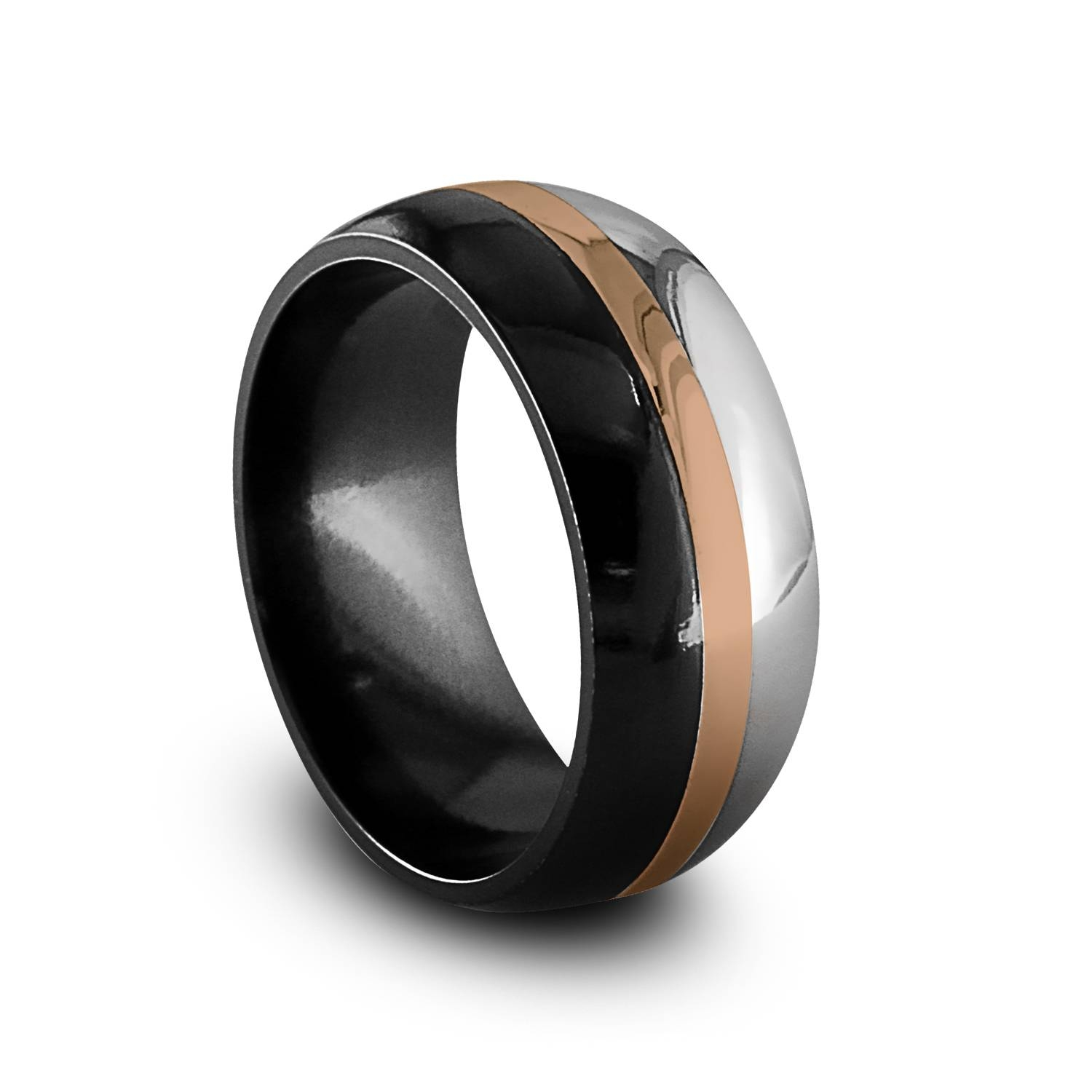 Black Titanium & Rose Gold Men's Ring | Alpha Rings Regarding Black And Rose Gold Men's Wedding Bands (View 2 of 15)