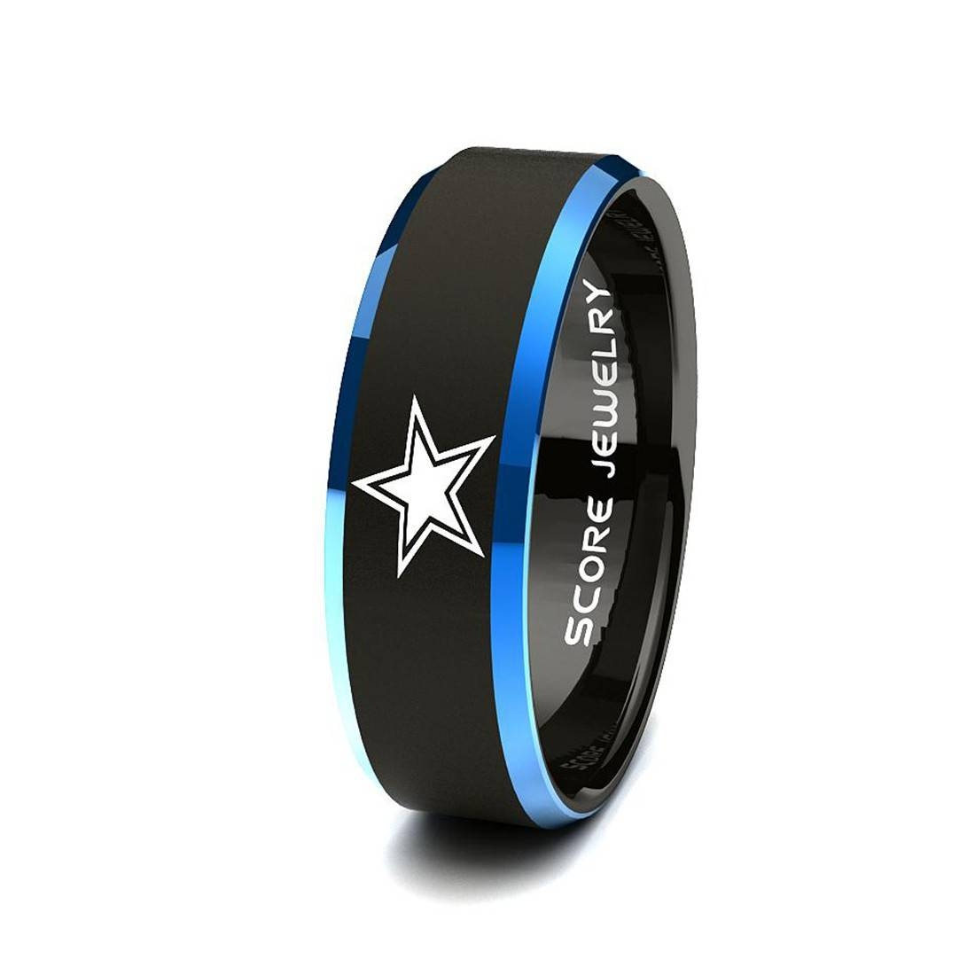 Black Tungsten Band Ring Mens Womens Ring Nfl Football Dallas Pertaining To Dallas Cowboys Wedding Bands (Gallery 3 of 15)