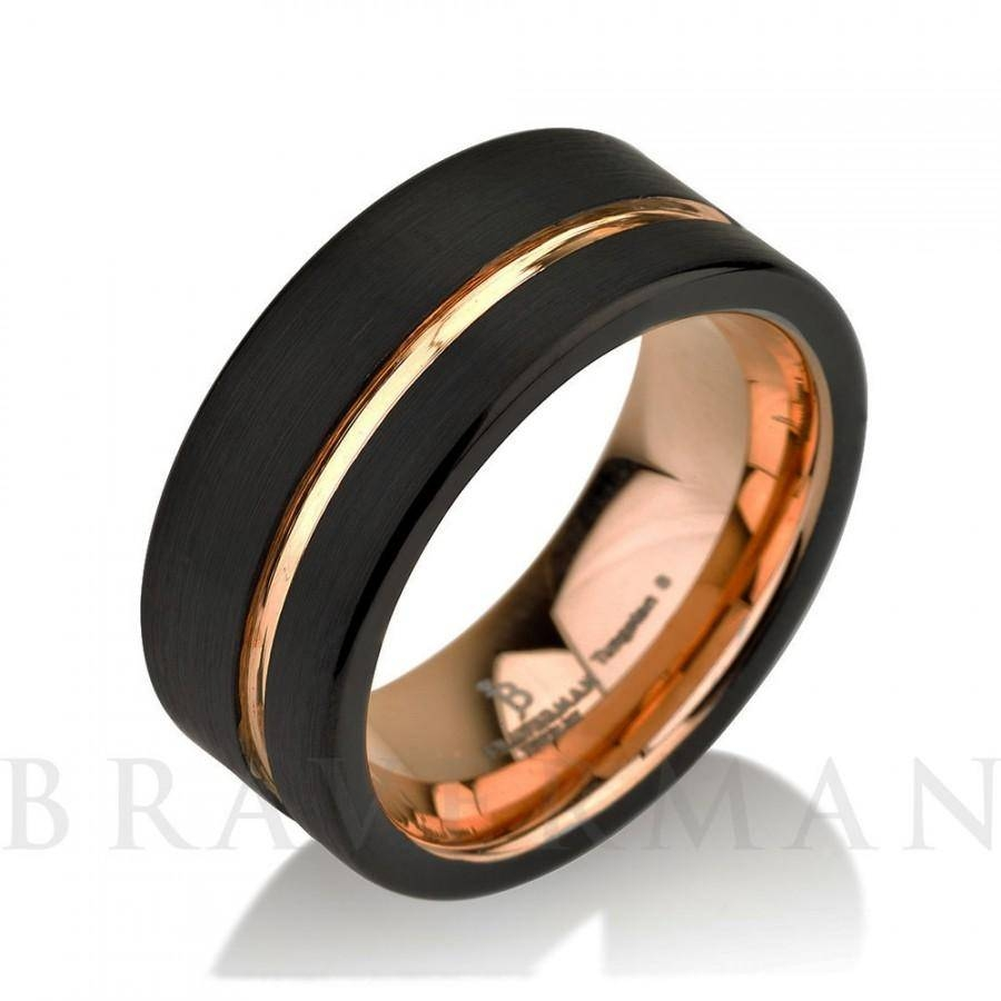 Black Tungsten Ring Rose Gold Wedding Band Ring Tungsten 9mm 18k Regarding Male Rose Gold Wedding Bands (View 3 of 15)