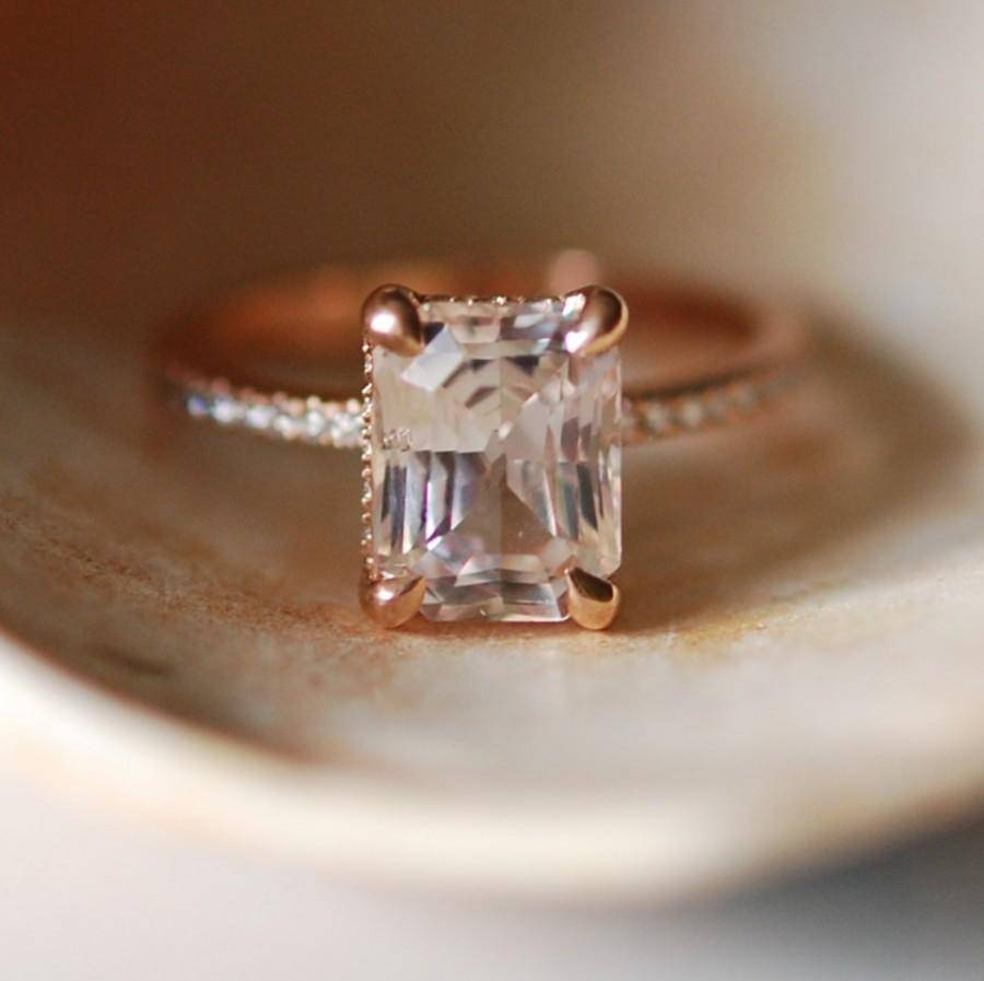 Blake Lively Ring White Sapphire Engagement Ring Emerald Cut 18K In White Emerald Engagement Rings (View 6 of 15)