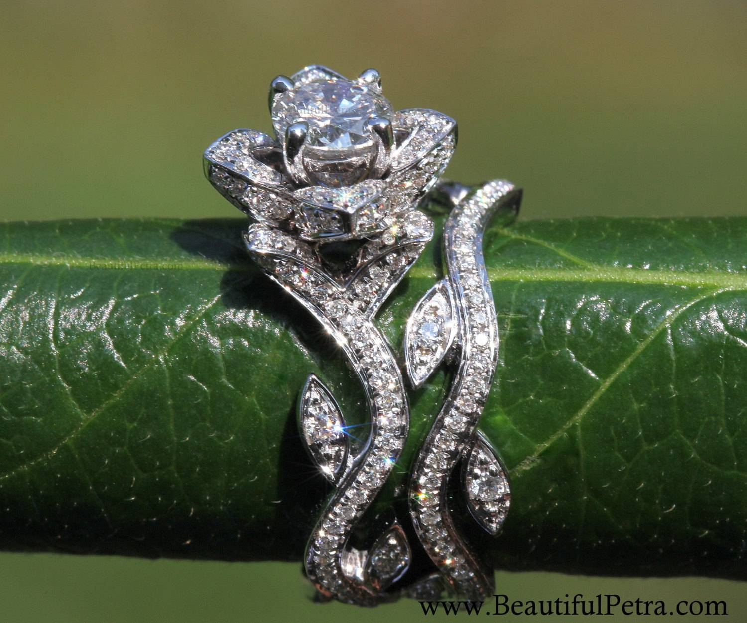 Blooming Work Of Art Flower Rose Lotus Diamond Engagement Inside Wedding Rings That Looks Like A Rose (View 1 of 15)